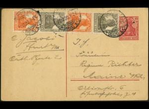 Dt. Reich, S 12 b, portogerecht auf Postkarte, Mi. 50,- (5096)