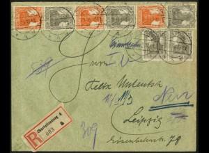 Dt. Reich, S 12 b + S 14 b, portogerecht auf R-Brief, Mi. 75,- (5100)
