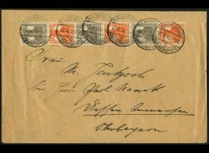 Dt. Reich, S 12 + S 14, auf unterfrankiertem Fern-Brief, Mi. MiF 75,- (5102)