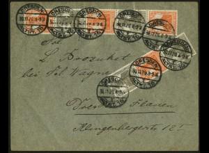 Dt. Reich, S 12, S 13, S 14, portogerecht auf Orts-Brief, Mi. 85,- (5103)
