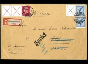 Dt. Reich, W 21.1 + W 30.2 portogerecht auf R-Brief, Mi. 150,- (5154)