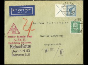 Dt. Reich, W 21.1, portogerechter Auslands-Brief, Sondertarif, Mi. 120,- (5160)