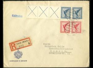 Dt. Reich, W 21.3, portogerechter R-Brief, Mi. 300,- (5170)