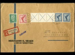 Dt. Reich, W 21.3, portogerechter R-Brief, Mi. 300,- (5171)