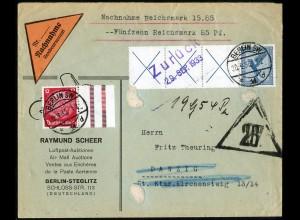 Dt. Reich, W 21.3, portogerechter Nachnahme-Brief, Mi. 300,- (5180)