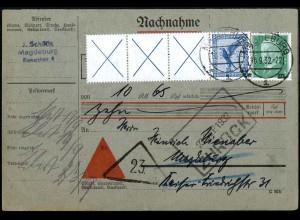 Dt. Reich, W 21.3, portogerechte Orts-Nachnahme-Doppelkarte, Mi. 300,- (5181)