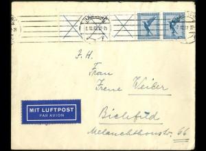 Dt. Reich, W 21.3, Luftpost-Brief, vollständige Zähn., Mi.-Handbuch 190,- (5183)