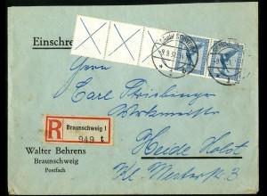 Dt. Reich, W 21.3, unterfrankierter R-Brief, vollst. Zähnung, Mi. 300,- (5184)