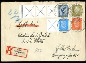 Dt. Reich, RL 15.2, W 26, S 46 portogerechter R-Brief, Mi. 545,- (5201)
