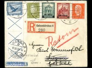 Dt. Reich, RL 15.2, fast portoger., Ausl.-R-Brief, Mi.-Handbuch 280,- (5207)