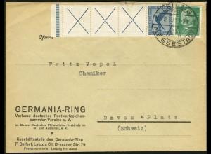 Dt. Reich, RL 15.2, portogerecht auf Ausl.-Brief, Mi. 500,- (5208)