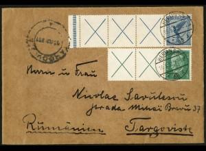 Dt. Reich, RL 15.2 + W 27.2, portogerecht auf Ausl.-Brief, Mi. 530,- (5209)