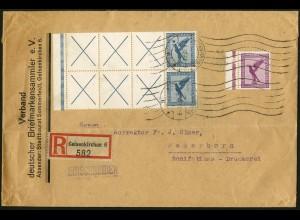 Dt. Reich, RL 15.2 (2) portogerechter R-Brief, Mi. 750,- (5213)