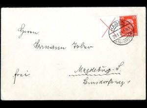 Dt. Reich, W 23, portogerechte Einzelfrankatur, Mi.-Handbuch 450,- (5231)