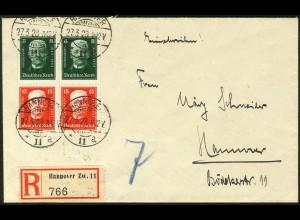 Dt. Reich, S 36 (2), Mehrfachfrankatur auf Orts-R-Brief (5277)