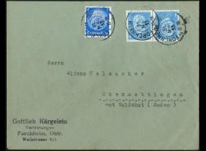 Dt. Reich, K 9, portogerecht auf Fern-Brief, Mi. 100,- (5289)
