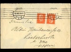 Dt. Reich, K 13, auf unterfrankiertem Fern-Brief, Mi.-Handbuch EF 180,- (5294)