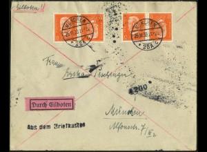 Dt. Reich, K 13 (2), portogerechte Mehrfachfrankatur auf Orts-Eil-Brief