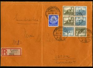 Dt. Reich, SK 15 (2) + W 41, portogerecht auf R-Brief, Mi. 78,- (5406)