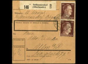 Dt. Reich, W 92, auf Paket-Karte (5550)