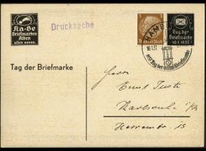 Dt. Reich, Mi. P-W 1 portogerechte Einzelfrankatur, Mi.-Handbuch 50,- (5554)