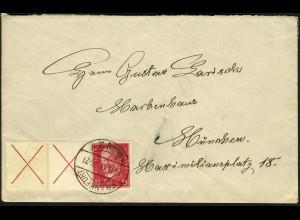 Dt. Reich, W 30.2, portogerechte Einzelfrankatur, Mi.-Handbuch 100,- (5747)