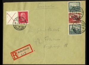 Dt. Reich, S 77 + W 30.1, auf R-Brief, Mi.-Handbuch 195,- (5903)