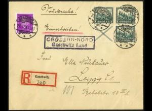 Dt. Reich, W 37, portogerechte R-Drucksache, Mi. 400,- (5912)