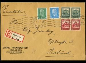 Dt. Reich, S 88 (2), portogerecht auf R-Brief, Mi. 95,- (5956)