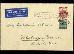 Dt. Reich, S 90, Einzelfrankatur auf Luftpost-Brief, Mi.-Handbuch 80,- (5965)