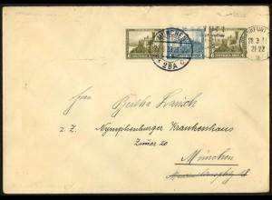 Dt. Reich, W 42, Einzelfrankatur auf Fern-Brief, Mi. für MiF 50,-