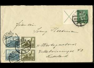 Dt. Reich, W 27.1 + W 43 (2), portogerecht auf Auslands-Brief, Mi. 174,- (6028)