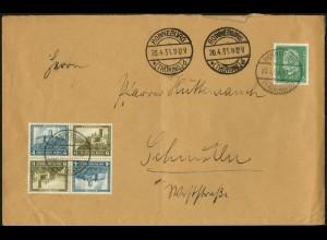 Dt. Reich, SK 15 (2), portogerecht auf Fern-Brief, Mi. 70,- (6076)