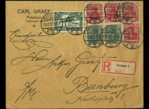 Dt. Reich, HBl. 27, portogerechter R-Brief, Mi. 150,-