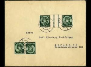 Dt. Reich, WZ 9 + K 17, portogerecht auf Fern-Brief, Mi. 170,- (6169)