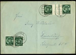 Dt. Reich, WZ 9 + K 17, portogerecht auf Fern-Brief, Mi. 170,- (6170)