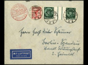Dt. Reich, WZ 9, portogerecht auf Luftpost-Brief, Mi. 100,- (6176)