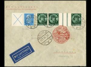 Dt. Reich, WZ 9 + W 26, portogerecht auf Luftpost-Brief, Mi. 130,- (6177)