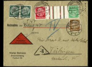 Dt. Reich, KZ 17, portogerechter Nachnahme-Brief, Mi. 120,- (6211)
