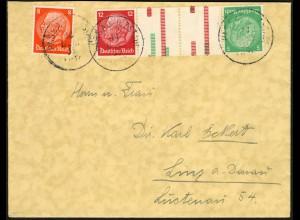Dt. Reich, KZ 17, portogerechter Auslands-Brief, Mi. 120,- (6214)