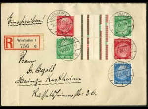 Dt. Reich, KZ 17 (2), unterfrankiert auf R-Brief, Mi. für MiF 200,- (6216)