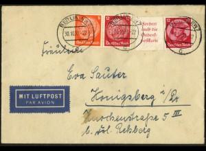 Dt. Reich, W 46 + W 45, auf Luftpost-Brief, Mi.-Handbuch 90,- (6332)
