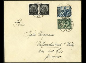 Dt. Reich, SK 19, Kehrdruck portogerecht auf Fern-Brief, Mi. 180,- (6355)