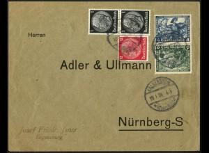 Dt. Reich, SK 19, Kehrdruck portogerecht auf Fern-Brief, Mi. 180,- (6356)