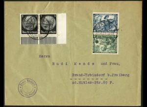 Dt. Reich, SK 19, Kehrdruck portogerecht auf Fern-Brief, Mi. 180,- (6357)