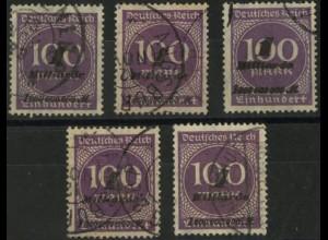Dt. Reich, Mi. 331 (5x), tadellos gestempelt, Mi. 190,-