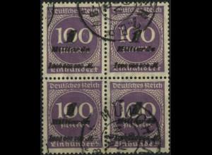 Dt. Reich, Mi. 331 im Viererblock, tadellos gestempelt, Mi. 152,- (6663)