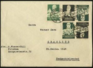 Dt. Reich, K 23 (2x), portogerecht auf Auslands-Brief, Mi. 75,- (6701)