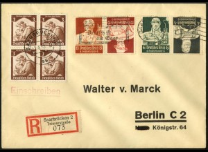Dt. Reich, K 23 + K 24, portogerecht auf R-Brief, Mi. 75,-