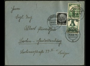 Dt. Reich, S 231, portogerecht auf Fern-Brief, Vor-Ersttag 25.10.35 !!!